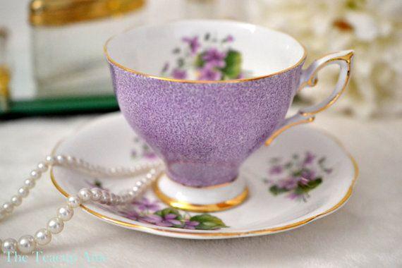Royal Standard Purple Teacup and Saucer With Purple Violets, English Bone China Tea Cup Set, Wedding Gift,  ca. 1949