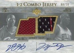 2003-04 UD Glass 1-2 Combo Jersey Autographs LeBron James and Michael Jordan #LJMJ #/10 The 2003-04 UD Glass 1-2 Combo Jersey LeBron James/Michael Jordan is the only card from James' rookie year to combine the pair's signatures and jersey swatches. Numbered to 10, the design is somewhat understated given its significance. Read more: http://www.cardboardconnection.com/23-of-the-most-amazing-michael-jordan-cards#ixzz3JZQDZRN3  All Content Copyright 2014 Cardboard Connection Inc