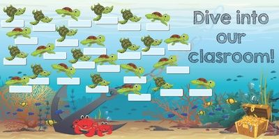 This Ready-to-Roll bulletin board welcomes your students with friendly sea turtles! You can also personalize each turtle with the names of your students. This bulletin board is printed on matte paper for ease to attach right onto your classroom wall. Item measures 36 inches H by 84 inches W. Reuse year after year!