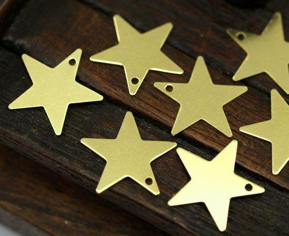 100 Сырье Латунь Звезда Пустой, звезда Тег, (15 мм) х комн 626