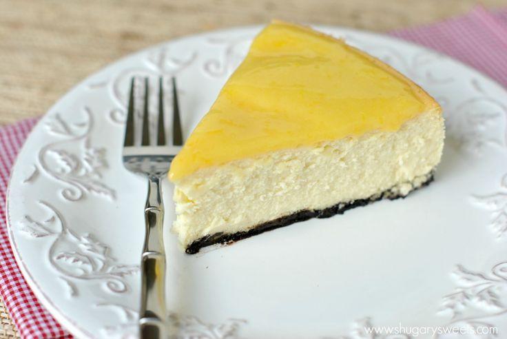 Lemon Cheesecake: creamy Lemon Cheesecake with a cookie crust and homemade lemon curd!