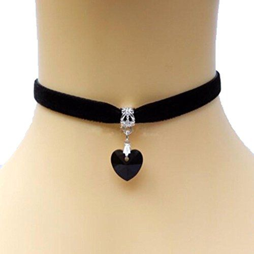 HuntGold 1X Lady Girls Velvet Choker Necklace Retro Handmade Love Heart Crystal…