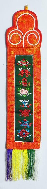 Sacred Buddhist Symbols  - (Wall Hanging) (Silk))