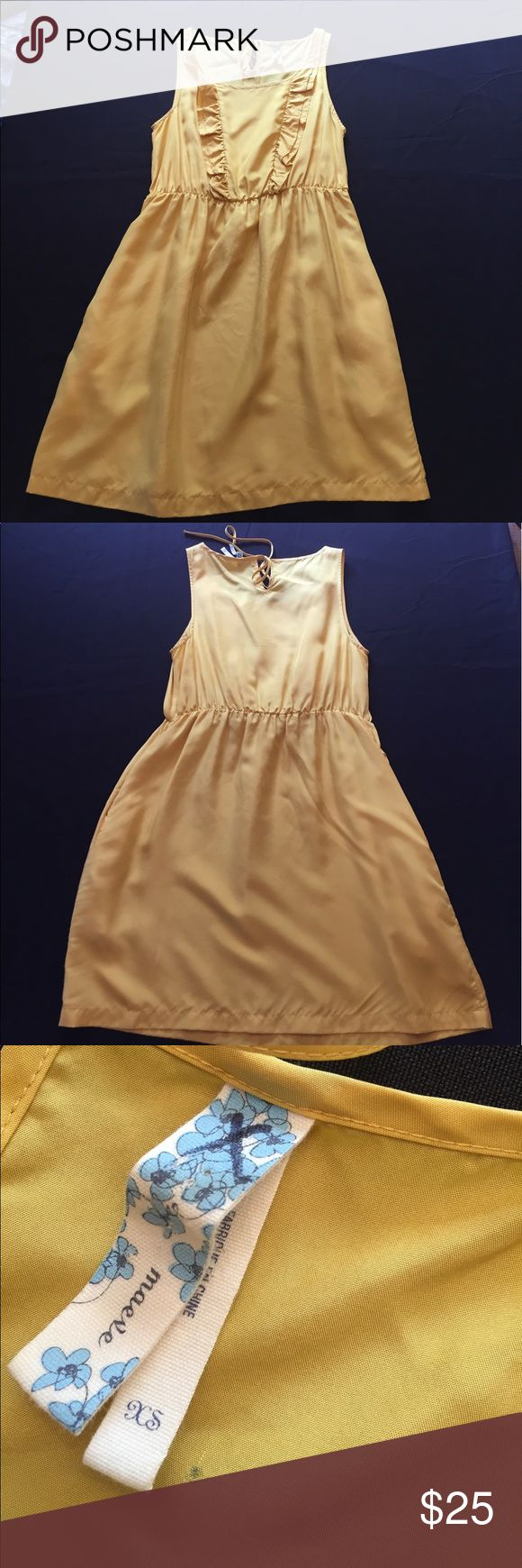 "maeve xs yellow dress maeve (anthropologie brand) xs yellow dress  small mark near tag where security tag was located  chest: 17"" waist: 16"" length: 33"" Anthropologie Dresses"