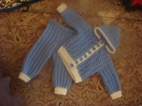 Костюмчик для малыша спицами. Часть 1. suit for baby knitting - YouTube