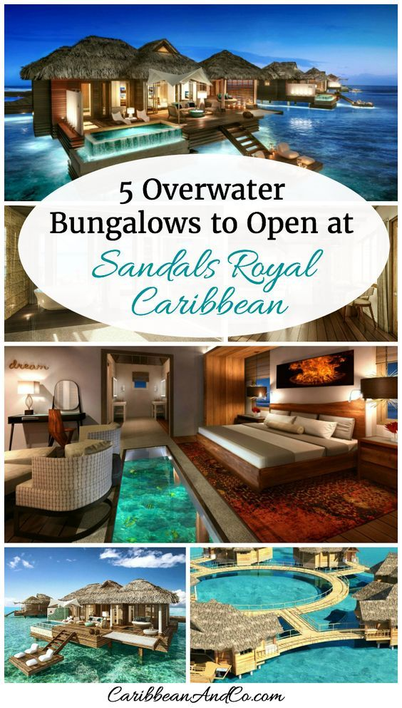 Check out the 5 Overwater Bungalows that are now available to guests at the popular Sandals Royal Caribbean in Montego Bay, Jamaica. Built on an offshore island from the main resort building, they are accessible by a 10-minute boat ride.