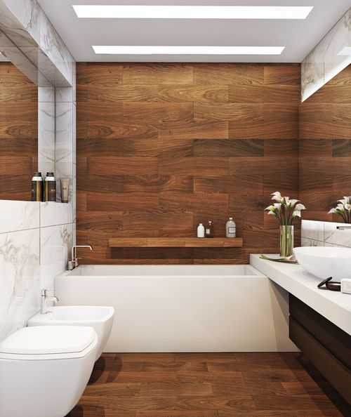 More than you would want, but wood-look tiles used on the wall. Counter continuing over the bath tub.