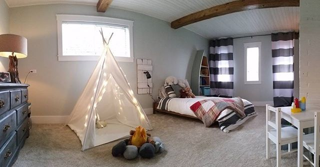 "We did it! It's pretty much done! Henri's ""big boy"" room is done and I kinda love how it turned out! Will post a ""before"" pic too!  @mikediewold thanks again for putting up with me! On to the nursery?! 😆  #bedroomremodel #bedroomreno #fauxbeams #teepee #bigboyroom #diy #beams #decoraddict #plankceiling #boysroom  #homedecor #fixerupper #albernirealtor"