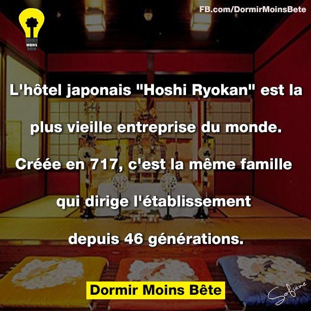 """L'hôtel japonais """" Hoshi Ryokan"""" est la plus vieille entreprise du monde, créée en 717 et dirigée par la même famille depuis 46 générations."""