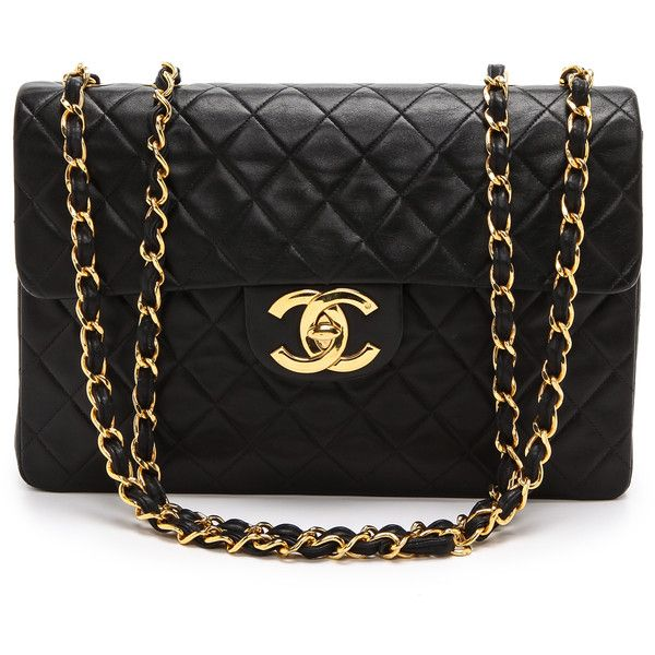 What Goes Around Comes Around Chanel Jumbo Flap Bag - Black found on Polyvore