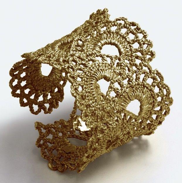 Gold Vermeil Vintage Scalloped Lace Cuff Bracelet. $1,800.00, via Etsy.