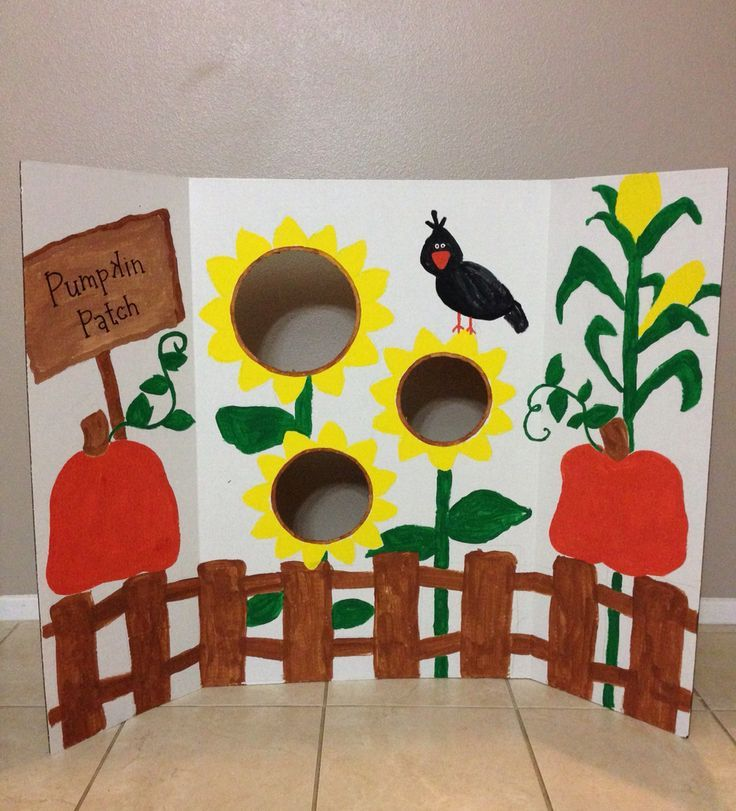 DIY fall festival bean bag toss game by painting a trifold display ...
