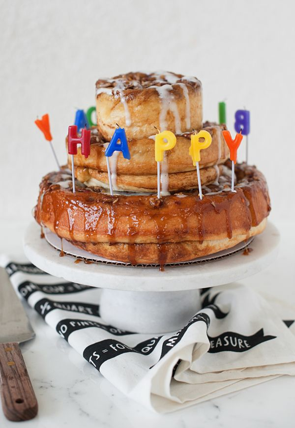 How about a cinnamon roll birthday cake for your next party?!