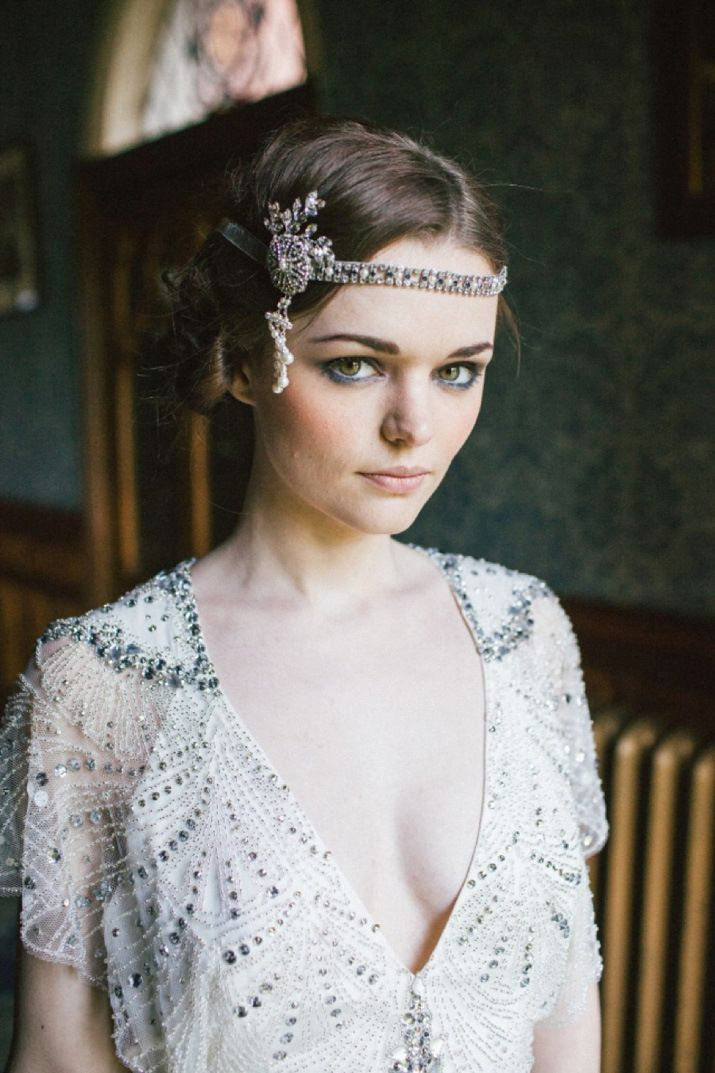 Diamante, pearl and sapphire head dress by Laurel Lime: Fresh, Feminine Bridal Accessories | Love My Dress® UK Wedding Blog