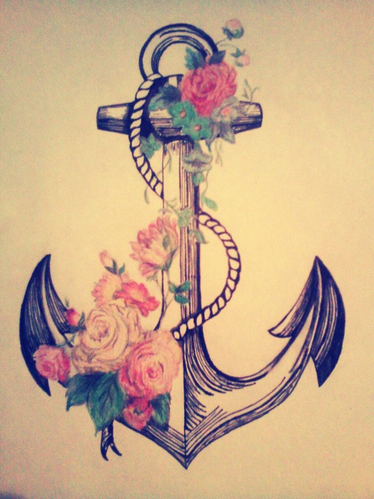 I refuse to sink ♥ Anchor & Flowers  Illustration. Copy Drawn by Jimena Gomez.  Not my design