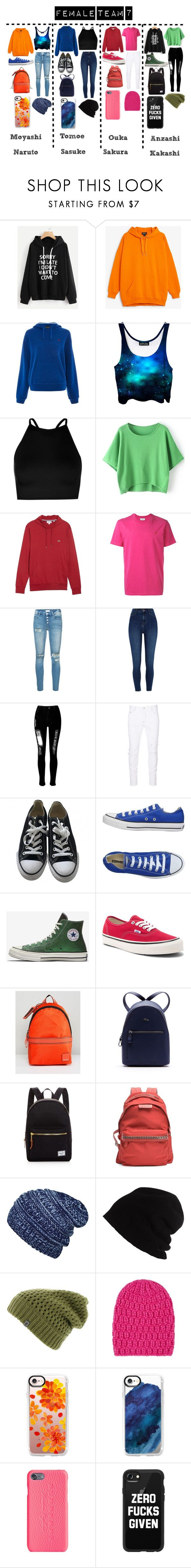 """Female Team 7"" by deathlyhallows12 on Polyvore featuring Monki, Topshop, Boohoo, Lacoste, AMI, Mother, River Island, WithChic, Dsquared2 and Converse"