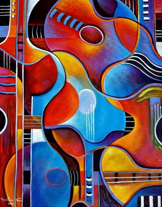 GUITAR Original Painting by Marlina Vera Cubist by MarlinaVera