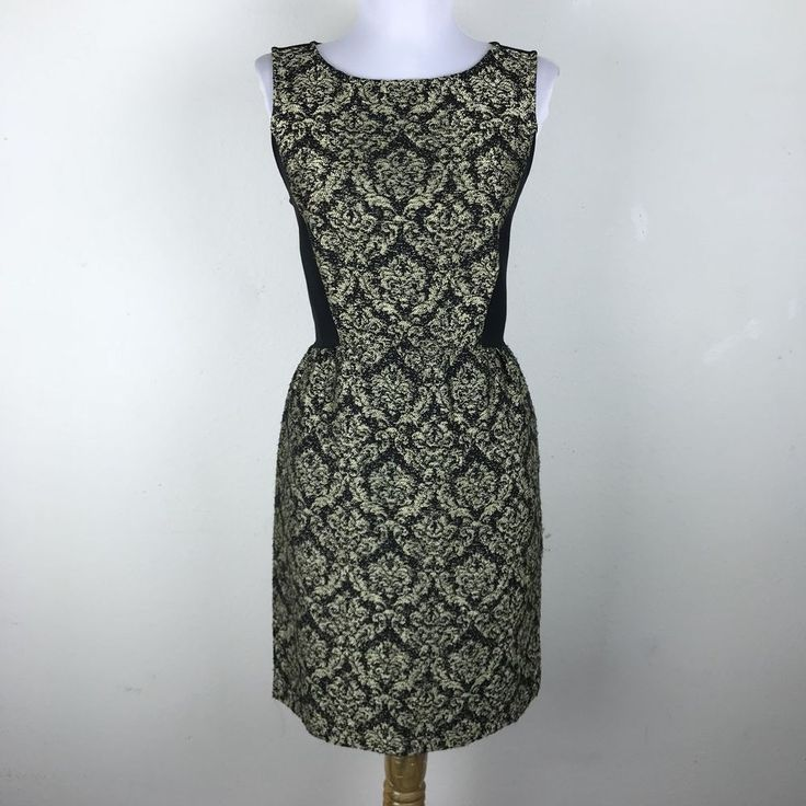 Ann Taylor Loft Dress 2 Gold Black Brocade Sheath Sleeveless Floral Polyester Bl #AnnTaylorLOFT #SheathDress