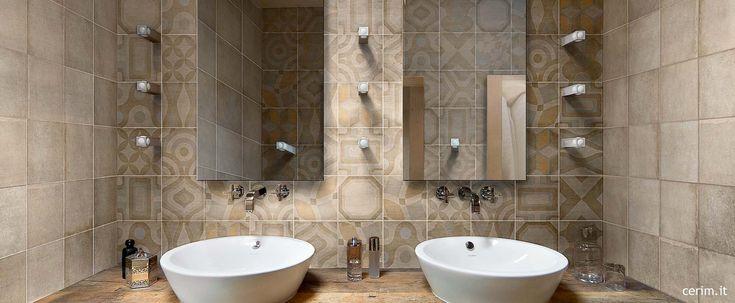 Ceramic backsplash tile with pastel modern patterns: Memory of Cerim