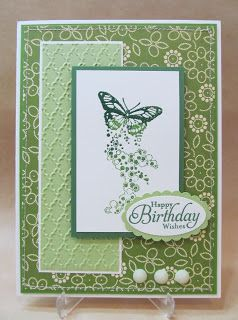 handmade birthday card ... monochromatic greens ... like the layout design with lots of matted layers ... butterfly main image ... Stampin' Up!