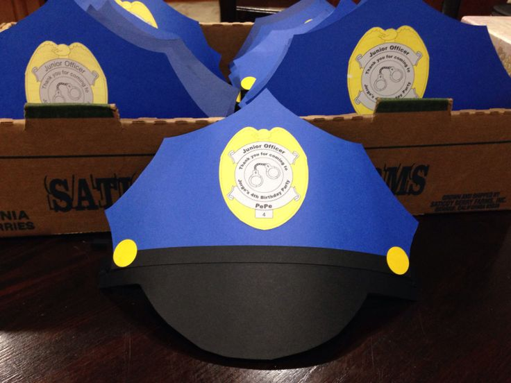 Paper police party hats for a police themed birthday party.  Card stock
