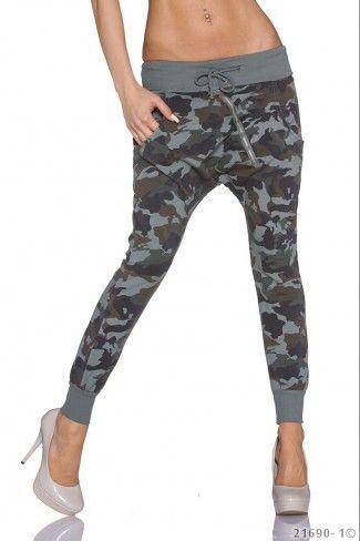 Harem στρατιωτικό παντελόνι με τσέπες - Καμουφλάζ