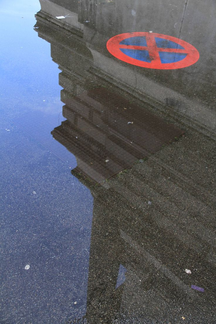 Spiegelung, Wasser, Pfütze, Gebäude, Schild