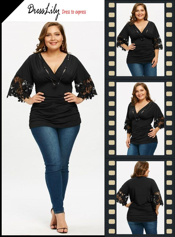 0d9b0d0524365 Empire Waist Plus Size Ruched T-shirt with Necklace