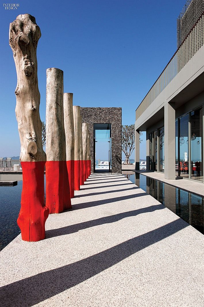 2014 Hall of Fame Inductee: Paola Navone | Reclaimed posts bordering the pool at Point Yamu Resort by COMO in Phuket, Thailand, 2014