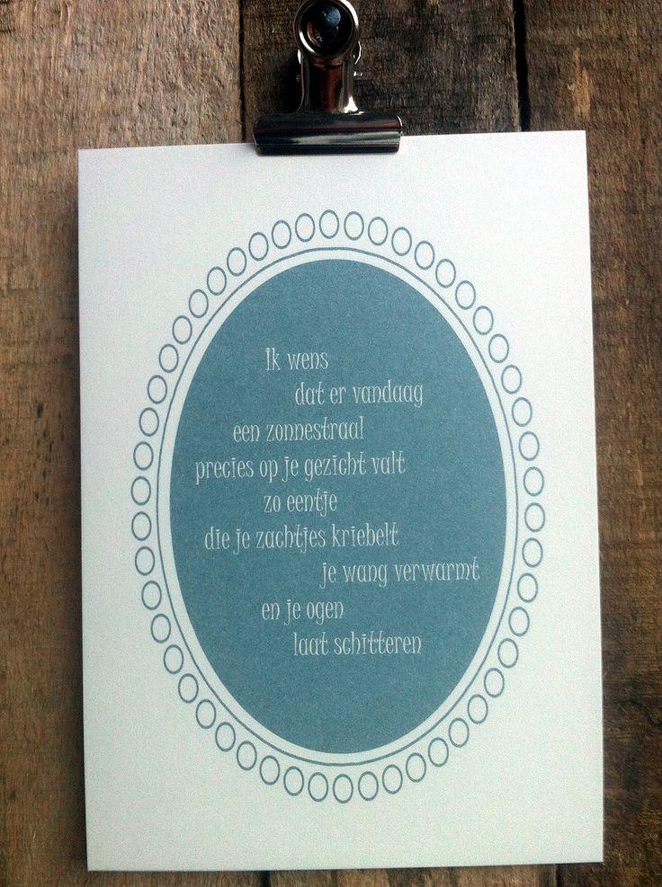 Ansichtkaart mooie spreuken, ik wens je een zonnestraal, grafisch  ontwerp De vrolijke Prinses.