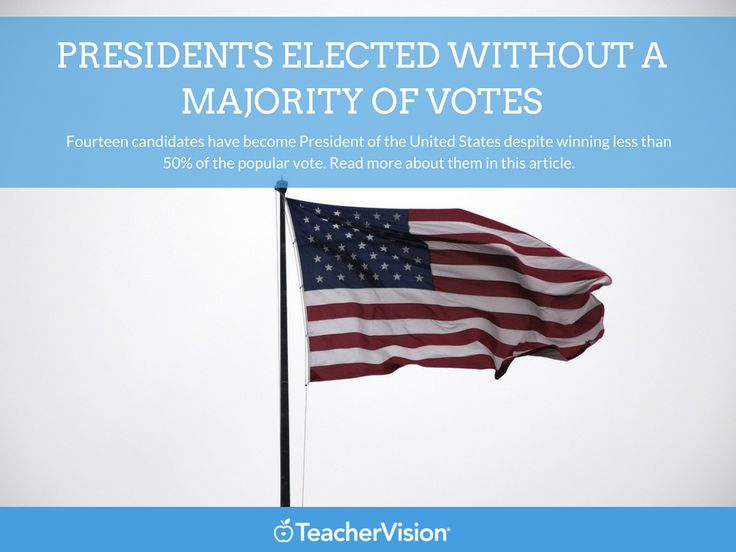 Fourteen candidates have become president of the United States with a popular vote less than 50% of the total cast. Read more about it in this article. (Grades K-12 - useful for Presidents' Day lesson planning.)