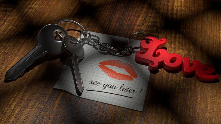 llaves, nota, hoja de papel, letras, llavero, forma, rojo, amor, beso, labios, labial rojo, madera, mesa, tabla, nos vemos mas tarde, love, see you later, ternura, dia de los enamorados, san valentin, enamorados, novio, novia, ternura, dulzura, espera, imagenes de amor gratis, imagenes gratis, fotos romanticas, imagenes romanticas