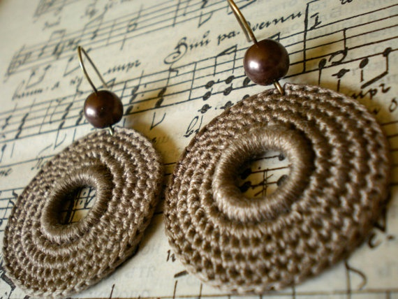 Crochet Earrings in light brown by DITANIA on Etsy, $8.00