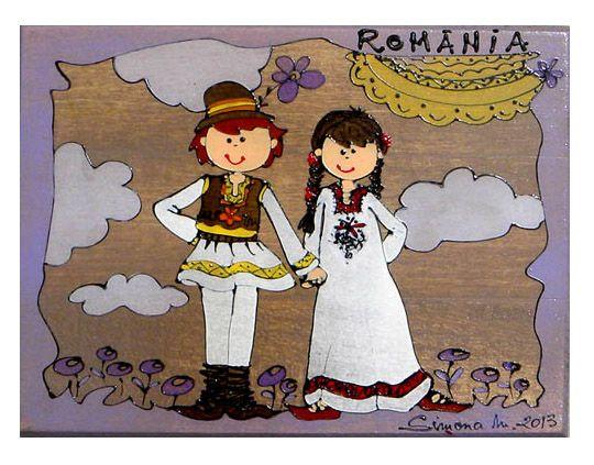 pictura motive traditionale-cuplu de tarani