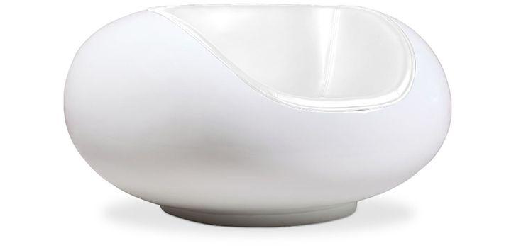 Fauteuil Pastil - Style Eero Aarnio - Fibre de verre blanche - Simili cuir