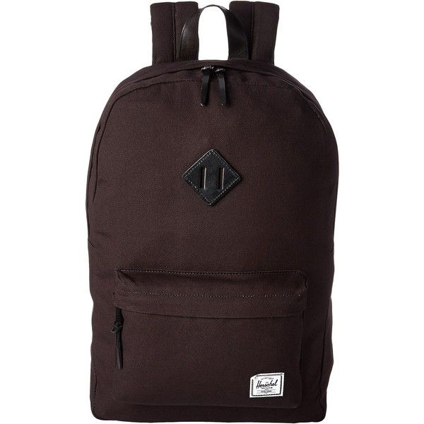 Herschel Supply Co. Heritage (Black Canvas) Backpack Bags ($60) ❤ liked on Polyvore featuring bags, backpacks, black, laptop rucksack, pocket backpack, herschel supply co backpack, laptop bag and strap backpack