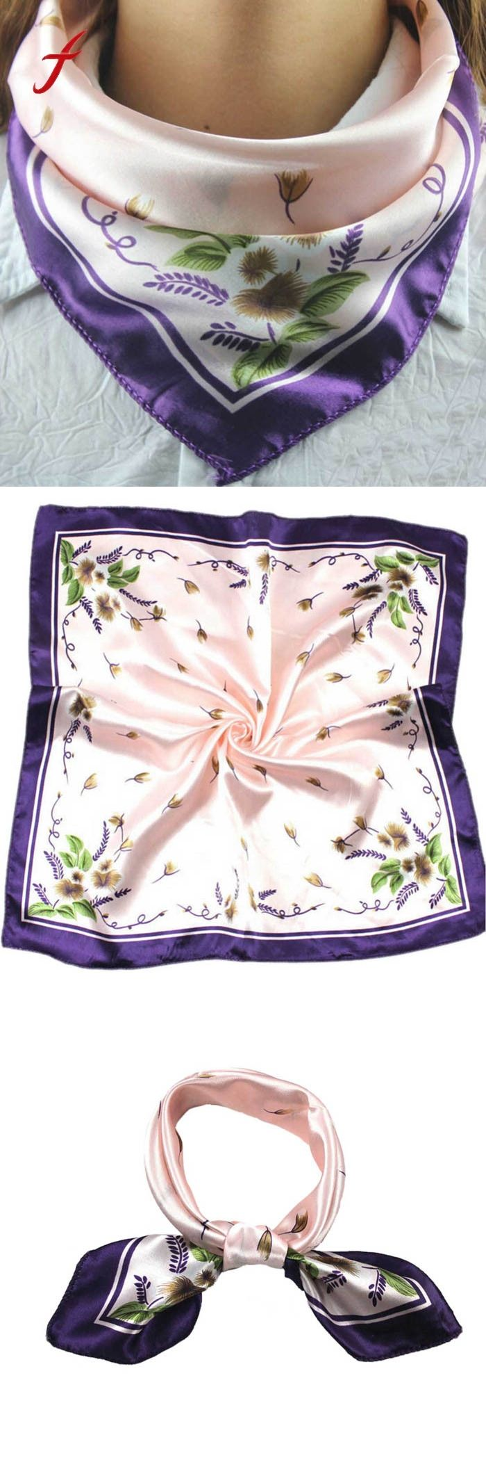 Soft Silk Square Scarf Scarves Bandanas Head Wrap Shawl Satin Stewardess Female Elegant Silk Scarf Fashion Ladies Accessories