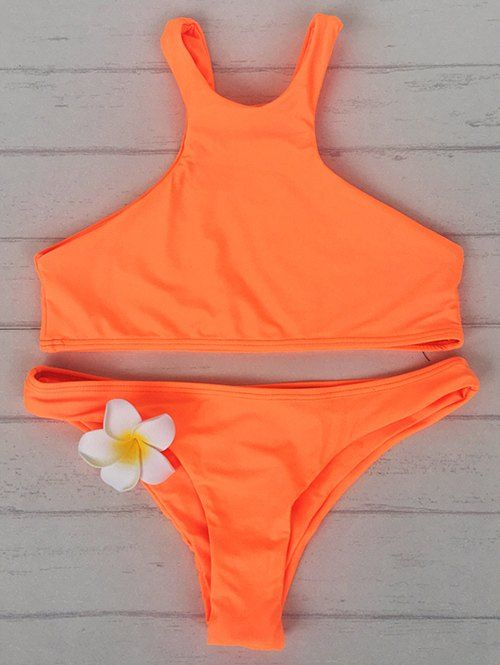 Orange High Neck Bikini Set - SWEET ORANGE S