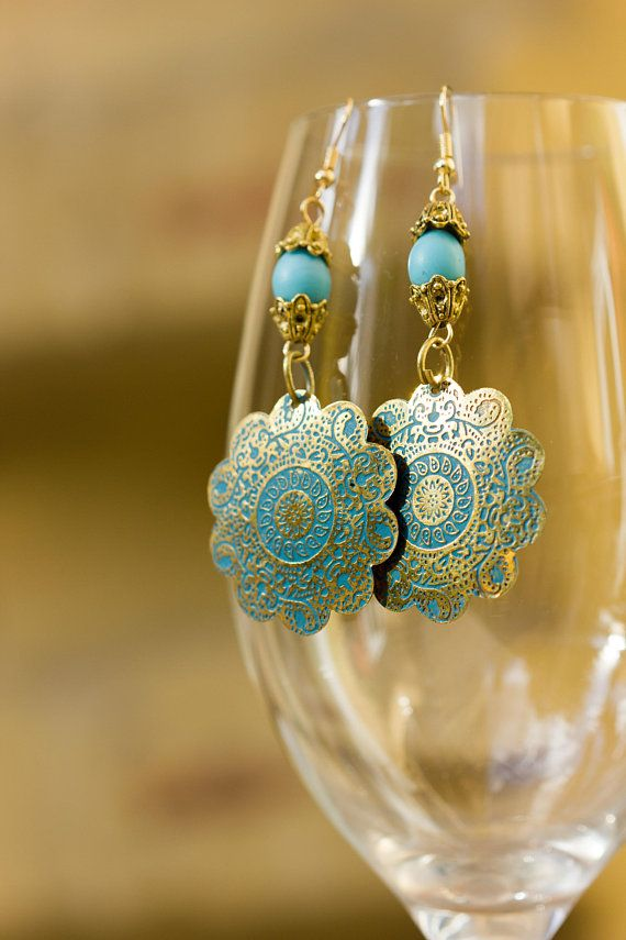 Turkish Style Big Gold Earrings, Turquoise Blue Tribal Statement Oriental Earrings, Ethnic Gift Under 25 Lightweight Earrings, Bold Earrings