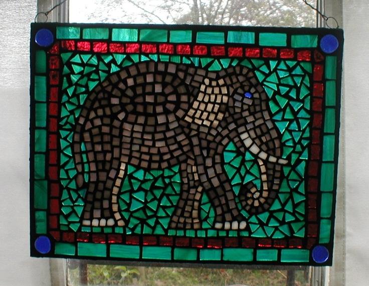 Elephant glass on glass mosaic