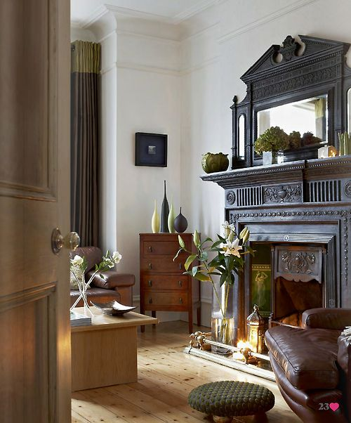The charcoal gray fireplace