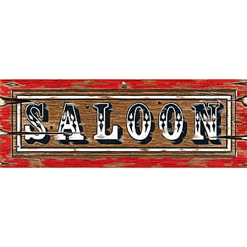 Our Saloon Sign Cutout has the look of an authentic old time Western saloon sign. This double-sided sign is made from cardstock and measures 8 inches high.