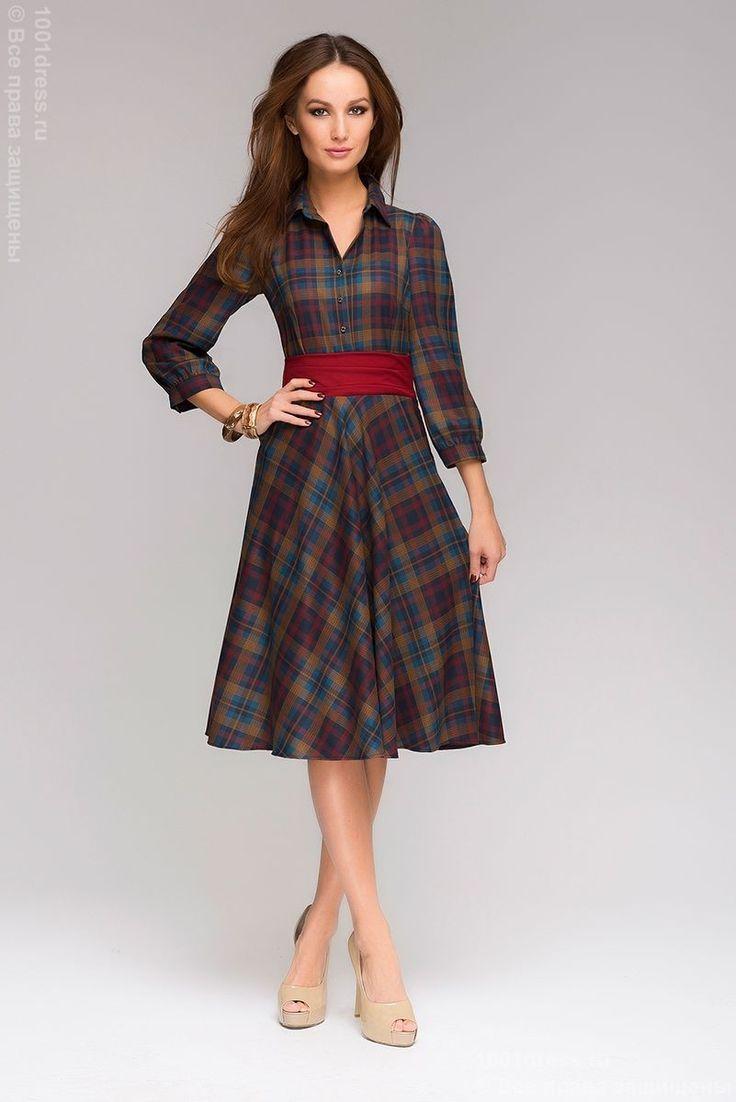 Платье длины мини в бежево-синюю клетку с рукавами 3/4. Мультиколор в интернет магазине Платья для самых красивых 1001dress.Ru