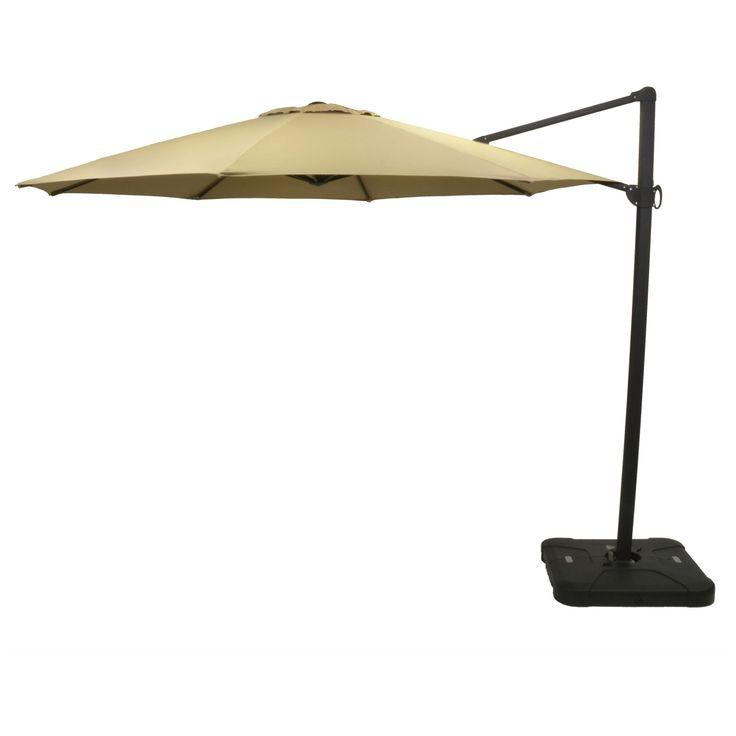 11' Offset Sunbrella Umbrella - Canvas Heather Beige - Black Pole - Smith & Hawken