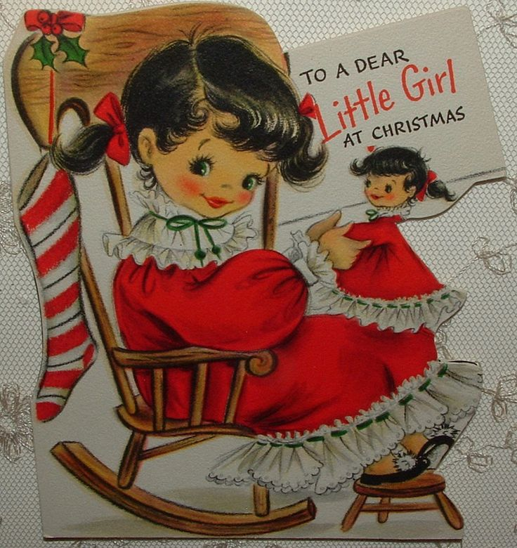 UNUSED - Little Girl with Her Doll - 50 s Vintage HALLMARK Greeting Card   eBay