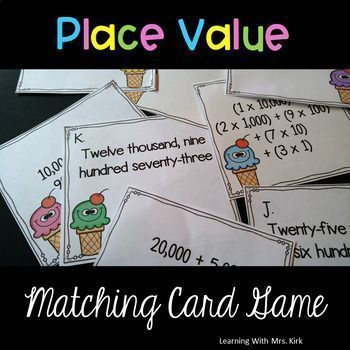 These 48 matching cards can be used as a matching game or in a sorting center. A fun activity to help students practice different ways to read and write numbers. Standard form, written form, expanded form and expanded notation. The cards are a combo of 3, 4 and 5 digit numbers so they can easily be used to differentiate for