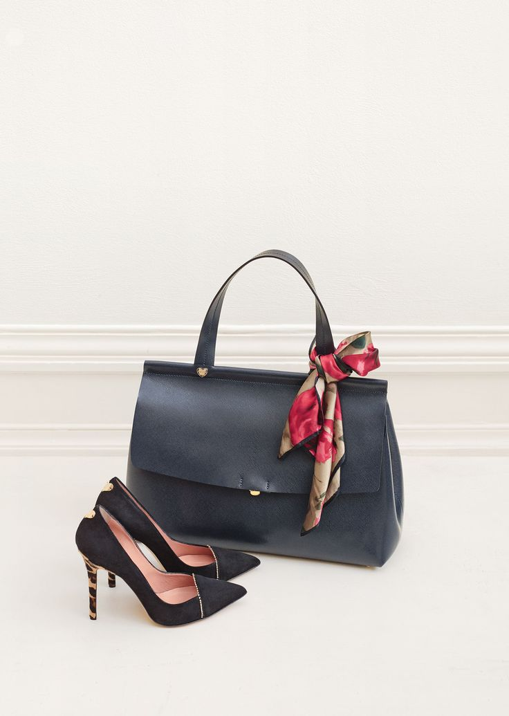TWIN-SET Simona Barbieri: raw cut satchel bag with heart-motif rivet securing handle and suede court shoes with heels covered in spotted ponyskin