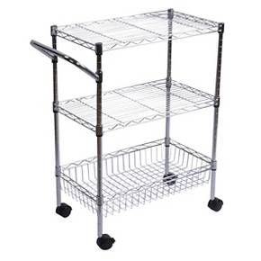 Target- 3-Tier Storage and Utility Cart with Wheels - Chrome - Room Essentials™