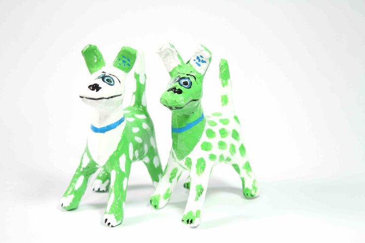 Papier-Mache Spotty Dog (Green/White): This handcrafted papier-mache dog was made using recycled newspaper.  Each one is hand painted making them all unique and individual.  It is sure to add colour and happiness to the room.