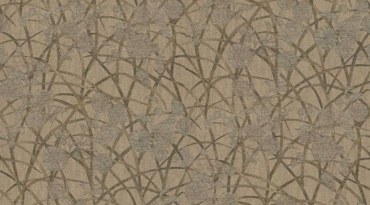 Sumi (MOS02004) - Zoffany Wallpapers - A delicate and ornamental design of metallic bronze chrysanthemum blossoms and golden long grasses on a dusty mink vinyl, embossed with a silk effect. Additional colourways also available. Please request a sample for true colour and texture match.